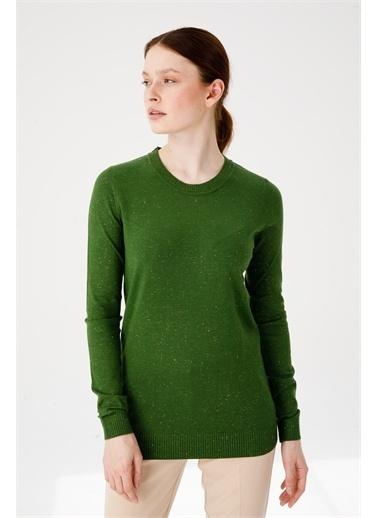 Desen Triko Kadın Sımlı Basıc Sıfır Yaka Bluz Sıyah Yeşil